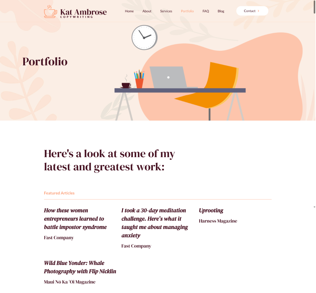 freelance writing website example - portfolio page
